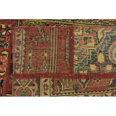 One-of-a-Kind Sela Vintage Persian Hand Woven 100% Wool Rectangle Red Patchwork Area Rug with Fringe