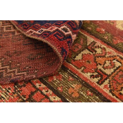 One-of-a-Kind Sela Vintage Persian Hand Woven Wool Red Tribal Patchwork Area Rug with Fringe