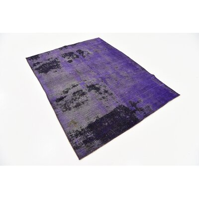 One-of-a-Kind Sela Vintage Persian Hand Woven Wool Violet Oriental Area Rug with Fringe