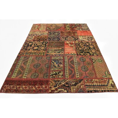 One-of-a-Kind Sela Vintage Persian Hand Woven Wool Rectangle Rust Red Patchwork Area Rug
