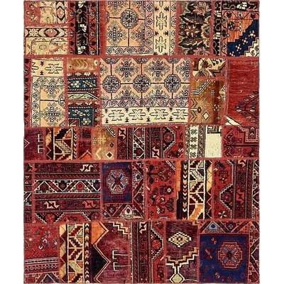 One-of-a-Kind Sela Vintage Persian Hand Woven 100% Wool Red Tribal Patchwork Area Rug