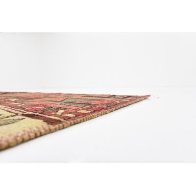 One-of-a-Kind Sela Vintage Persian Hand Woven Wool Red Tribal Patchwork Area Rug with Cotton Backing