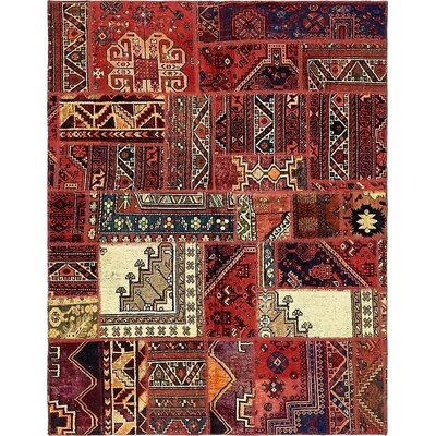 One-of-a-Kind Sela Vintage Persian Hand Woven Wool Rectangle Red Tribal Patchwork Area Rug