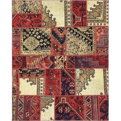 One-of-a-Kind Sela Traditional Vintage Persian Hand Woven Wool Red Tribal Patchwork Area Rug with Cotton Backing