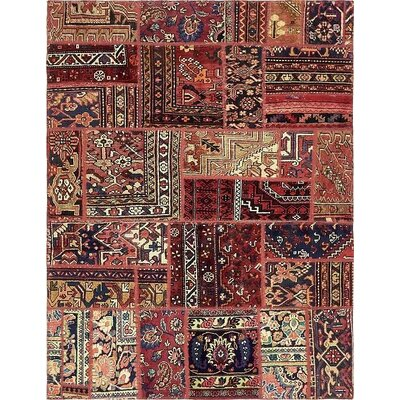 One-of-a-Kind Sela Vintage Persian Hand Woven Wool Red Tribal Patchwork Area Rug with Fringe and Cotton Backing