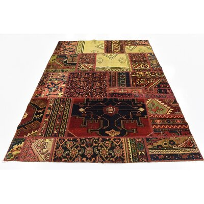 One-of-a-Kind Sela Vintage Persian Hand Woven 100% Dyed Wool Red Tribal Patchwork Area Rug