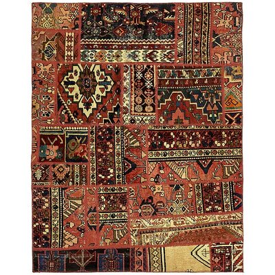 One-of-a-Kind Sela Vintage Persian Hand Woven Dyed Wool Red Tribal Geometric Area Rug