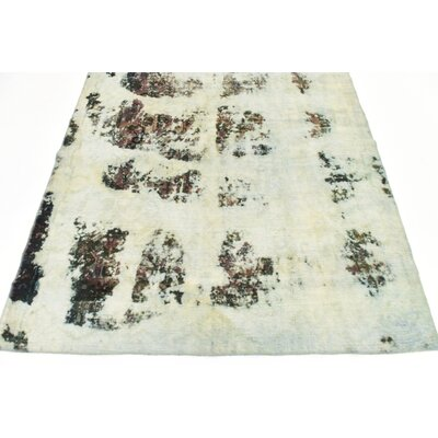 One-of-a-Kind Sela Vintage Persian Hand Woven 100% Wool Rectangle Distressed Ivory Oriental Area Rug