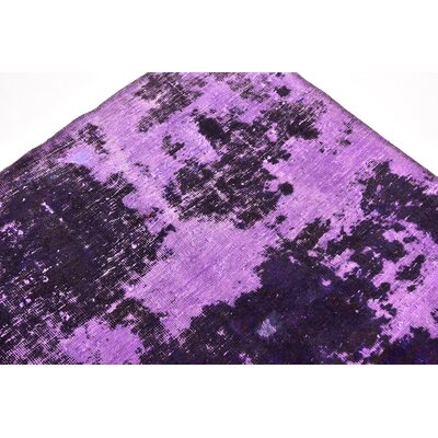 One-of-a-Kind Muhammad Vintage Persian Hand Woven Dyed Wool Purple Oriental Area Rug