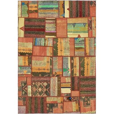 One-of-a-Kind Sela Traditional Vintage Persian Hand Woven Wool Rust Red Patchwork Area Rug