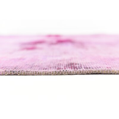 One-of-a-Kind Sela Traditional Vintage Persian Hand Woven Wool Pink Oriental Area Rug with Fringe