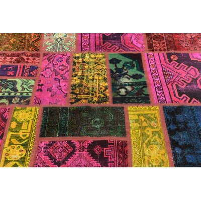 One-of-a-Kind Sela Vintage Persian Hand Woven Wool Yellow/Pink Patchwork Area Rug