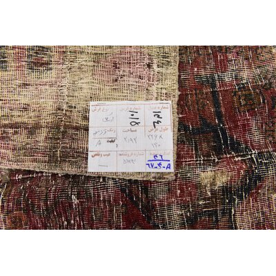 One-of-a-Kind Sela Vintage Persian Hand Woven Dyed Wool Distressed Red/Black Area Rug