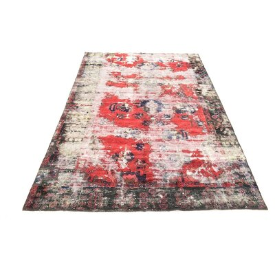 One-of-a-Kind Sela Vintage Persian Hand Woven 100% Wool Red Border Area Rug