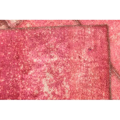 One-of-a-Kind Muhammad Traditional Vintage Persian Hand Woven Dyed Wool Pink Area Rug