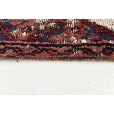 One-of-a-Kind Sela Vintage Persian Hand Woven Wool Rust Red Area Rug with Fringe
