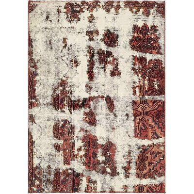 One-of-a-Kind Sela Traditional Vintage Persian Hand Woven Wool Distressed Ivory Area Rug with Fringe