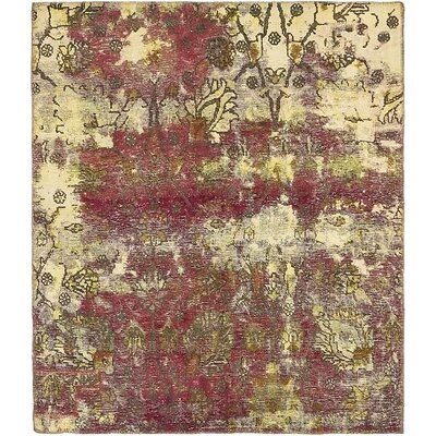 One-of-a-Kind Sela Vintage Persian Hand Woven Wool Cream Floral Area Rug