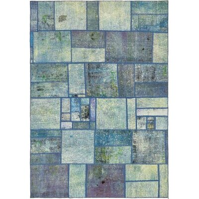 One-of-a-Kind Muhammad Traditional Vintage Persian Hand Woven Wool Blue Patchwork Area Rug