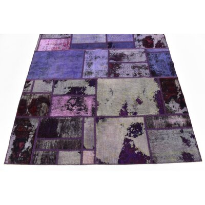 One-of-a-Kind Muhammad Vintage Persian Hand Woven Dyed 100% Wool Violet Patchwork Area Rug