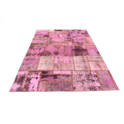One-of-a-Kind Muhammad Vintage Persian Hand Woven Deyed 100% Wool Pink Oriental Area Rug