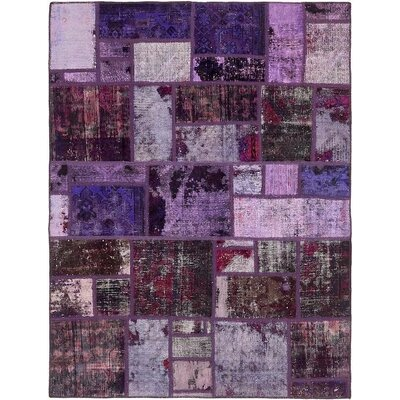One-of-a-Kind Muhammad Traditional Vintage Persian Hand Woven Dyed 100% Wool Violet Patchwork Area Rug