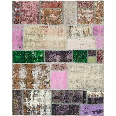 One-of-a-Kind Muhammad Traditional Vintage Persian Hand Woven Dyed 100% Wool Rectangle Violet Area Rug