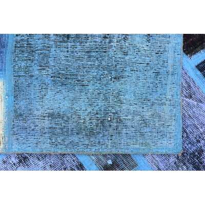 One-of-a-Kind Muhammad Vintage Persian Hand Woven 100% Wool Blue Oriental Patchwork Area Rug