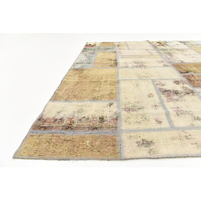 One-of-a-Kind Muhammad Traditional Vintage Persian Hand Woven Wool Beige Area Rug with Fringe