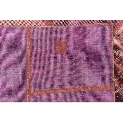 One-of-a-Kind Muhammad Vintage Persian Hand Woven Dyed Wool Violet Patchwork Area Rug