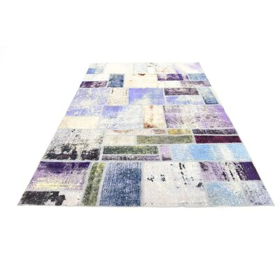 One-of-a-Kind Muhammad Vintage Persian Hand Woven 100% Wool Rectangle Blue Patchwork Area Rug