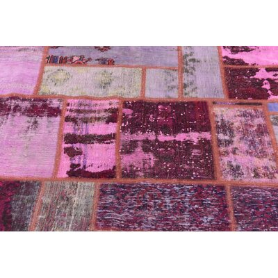 One-of-a-Kind Muhammad Traditional Vintage Persian Hand Woven Dyed Wool Violet Patchwork Area Rug