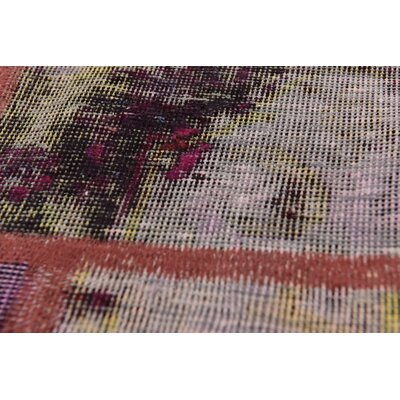 One-of-a-Kind Muhammad Vintage Persian Hand Woven Dyed Wool Rectangle Violet Patchwork Area Rug