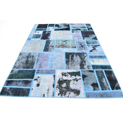 One-of-a-Kind Muhammad Vintage Persian Hand Woven Wool Dark Blue Area Rug
