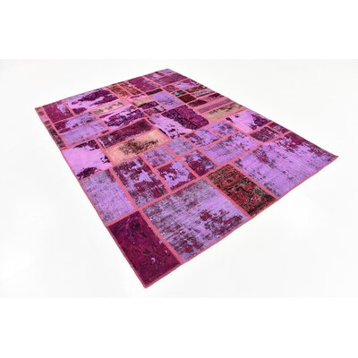One-of-a-Kind Muhammad Traditional Vintage Persian Hand Woven Rectangle 100% Wool Violet Patchwork Area Rug