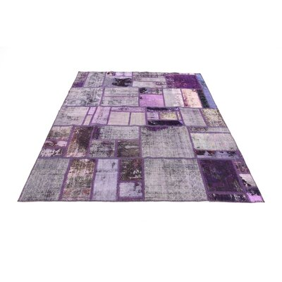 One-of-a-Kind Muhammad Traditional Vintage Persian Hand Woven Wool Violet Area Rug