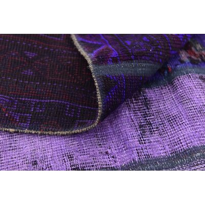 One-of-a-Kind Muhammad Vintage Persian Hand Woven Wool Violet Patchwork Area Rug