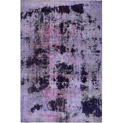 One-of-a-Kind Sela Traditional Vintage Persian Hand Woven Wool Violet Area Rug