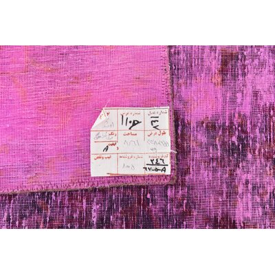 One-of-a-Kind Sela Vintage Persian Hand Woven Wool Rectangle Pink Area Rug with Fringe