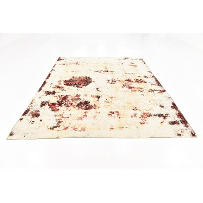 One-of-a-Kind Sela Vintage Persian Hand Woven Wool Distressed Ivory Oriental Area Rug with Fringe