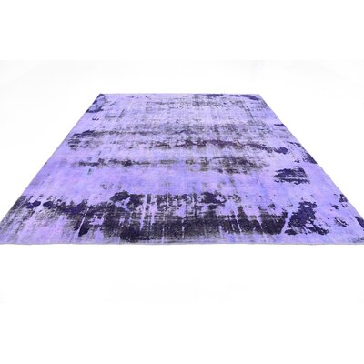 One-of-a-Kind Sela Vintage Persian Hand Woven 100% Wool Violet Area Rug with Cotton Backing