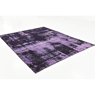 One-of-a-Kind Muhammad Traditional Vintage Persian Hand Woven Dyed Wool Rectangle Violet Area Rug