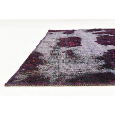 One-of-a-Kind Muhammad Traditional Vintage Persian Hand Woven Dyed Wool Rectangle Violet Oriental Area Rug