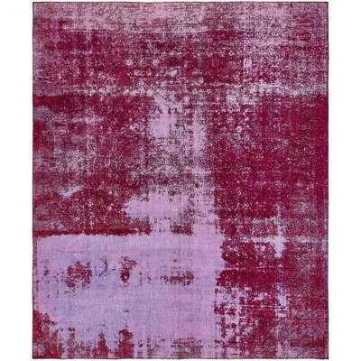 One-of-a-Kind Sela Vintage Persian Hand Woven 100% Dyed Wool Distressed Red/Purple Area Rug with Fringe