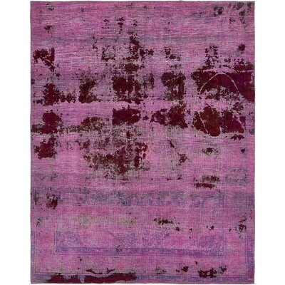 One-of-a-Kind Muhammad Vintage Persian Hand Woven Wool Violet Area Rug