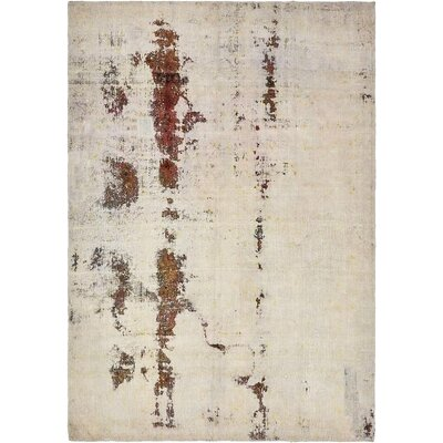 One-of-a-Kind Sela Traditional Vintage Persian Hand Woven Wool Distressed Ivory Oriental Area Rug with Fringe