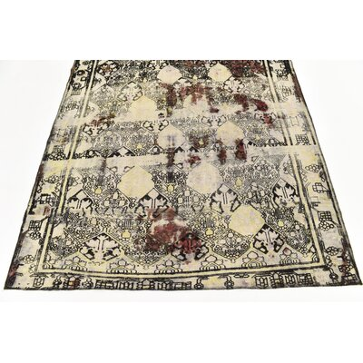 One-of-a-Kind Sela Vintage Persian Hand Woven 100% Dyed Wool Rectangle Distressed Ivory Area Rug