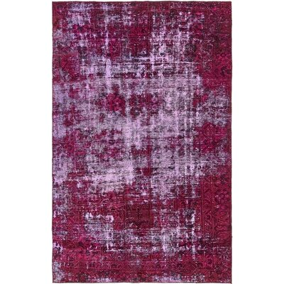 One-of-a-Kind Sela Vintage Persian Hand Woven Wool Distressed Red Geometric Area Rug
