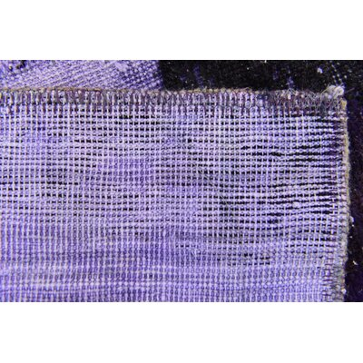 One-of-a-Kind Sela Vintage Persian Hand Woven Wool Distressed Violet Area Rug with Cotton Backing