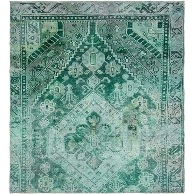One-of-a-Kind Sela Vintage Persian Hand Woven Wool Square Light Green Area Rug